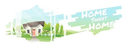 Huis Zoet Huis, Mooi landelijk landschap en een plattelandshuisjeachtergrond royalty-vrije illustratie