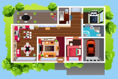 Huisarchitectuur hierboven wordt bekeken die van vector illustratie