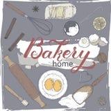 Huisbakkerij met deegrol, klopper, vorm, zeef, bloem, eieren, boter, citroen, kruiden wordt geplaatst dat Kleurenhand getrokken s royalty-vrije illustratie