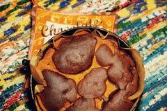 Huisbaksel - zoete Brownie met pompoen Stock Foto