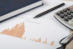 Huisbesparingen, begrotingsconcept Grafiek, pen, calculator en glazen op houten bureaulijst Stock Foto's