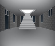 Huisbinnenland in aanbouw met trap  Royalty-vrije Stock Foto