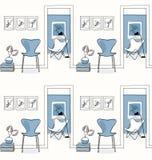 Huisbinnenland, gang Ontwerppictogrammen, het naadloze blauwe patroon van de vlinderstoel, Royalty-vrije Stock Foto's