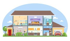 Huisbinnenland met de vectorillustratie van het ruimtemeubilair Gedetailleerd modern huis in vlakke stijl Stock Afbeeldingen
