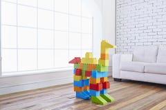 Huisbinnenland met stuk speelgoed royalty-vrije stock afbeelding
