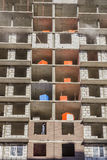 Huisbouw - metselwerkmuren Stock Foto's