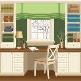 Huisbureau of het binnenland van de studieruimte met lijst onder het venster, de boekenkasten en de stoel Stock Foto's