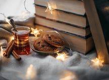 Huiscomfort met boeken stock foto's