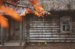 Huisdetails in Konstantinovo-dorp in Rusland stock foto's