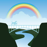 Huisdieren die de regenboogbrug kruisen Stock Afbeelding