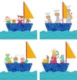 Huisdieren en kinderen die door boot reizen Stock Afbeelding