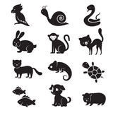Huisdieren en van huisdieren vectorpictogrammen Royalty-vrije Stock Afbeeldingen