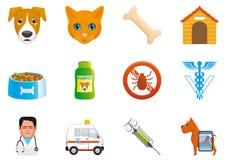 Huisdieren en veterinaire pictogrammen Stock Afbeeldingen