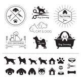 Huisdieren, Katten en Hondenembleem Royalty-vrije Stock Afbeeldingen