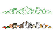 Huisdieren op een rij met exemplaarruimte royalty-vrije illustratie