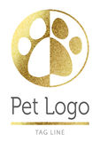 Huisdierenembleem in gouden Royalty-vrije Stock Afbeeldingen