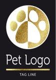 Huisdierenembleem in gouden Royalty-vrije Stock Afbeelding
