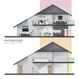 Huisdwarsdoorsnede met meubilair en leeg huis stock illustratie