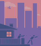 Huiseigenaar die bij een inbreker schieten Pictogram/vlak ontwerpstijl Stock Foto