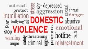 Huiselijk geweld en Misbruik de wolkenachtergrond van het conceptenwoord royalty-vrije illustratie