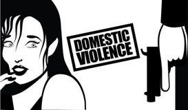 Huiselijk geweldvrouw en kanon Royalty-vrije Stock Fotografie