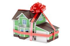 Huisgift Huis met lint en boog, het 3D teruggeven stock illustratie