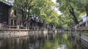 Water canal in Huishan old town in Jiangsu province, China stock images