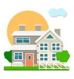 Huisherenhuis of van de de binnenplaatsmening van het villaplattelandshuisje het vector vlakke pictogram stock illustratie