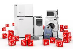 Huishoudapparaten met de Rode Kubussen die van Kortingspercenten worden geplaatst 3d ren Stock Afbeeldingen