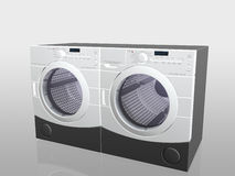 Huishoudapparaten, wasmachine en droger. Stock Foto's