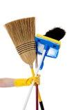 Huishoudelijk werk - Bezem, zwabber, stofdoek stock fotografie
