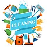 Huishoudenachtergrond met het schoonmaken van pictogrammen Het beeld kan bij de reclame van boekjes worden gebruikt Stock Afbeeldingen