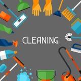 Huishoudenachtergrond met het schoonmaken van pictogrammen Het beeld kan bij de reclame van boekjes worden gebruikt Stock Fotografie
