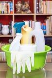 Huishoudenreinigingsmiddelen in de woonkamer verticaal Stock Foto