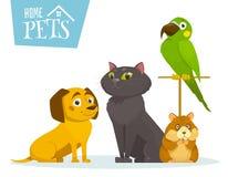 Huishuisdieren die in lijn, op witte, vectorbeeldverhaalillustratie zitten Stock Fotografie
