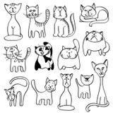 Huishuisdieren, leuke katten in krabbel vectorstijl Royalty-vrije Stock Foto