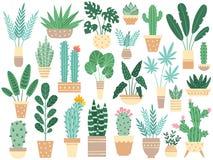 Huisinstallaties in potten Aard houseplants, decoratie ingemaakte houseplant en bloeminstallatie die in geïsoleerde pottenvector  stock illustratie