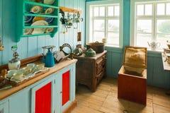 Huiskeuken in skogar museum IJsland Stock Foto