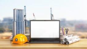 Huislay-out, die projecten, helm en open laptop met het lege scherm op de houten lijst trekken vector illustratie