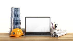 Huislay-out, die projecten, helm en open laptop met het lege scherm op de houten lijst trekken royalty-vrije illustratie