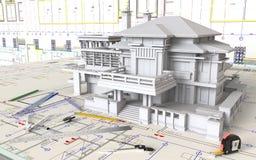 Huislay-out en Architecturale Tekeningen royalty-vrije stock afbeeldingen