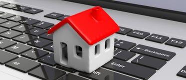 Huismodel met rode kleurendak op computerlaptop, banner 3D Illustratie stock illustratie
