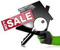 Huismodel met Sleutel - voor Verkoop Stock Fotografie