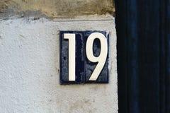 Huisnummer 19 Stock Foto