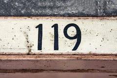 Huisnummer 119 stock afbeeldingen