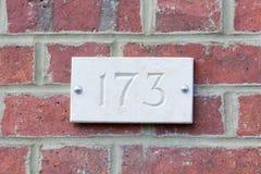 Huisnummer 173 teken Stock Fotografie