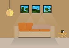 Huisontwerp, binnenlands huis, vlakke stijl, binnen, Huis Royalty-vrije Stock Afbeeldingen
