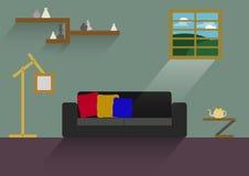 Huisontwerp, binnenlands huis, vlakke stijl, binnen, Huis Royalty-vrije Stock Afbeelding