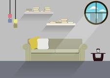 Huisontwerp, binnenlands huis, vlakke stijl, binnen, Huis Royalty-vrije Stock Fotografie
