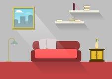 Huisontwerp, binnenlands huis, vlakke stijl, binnen, Huis Stock Foto